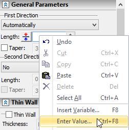 Vkládání hodnot T-Flex CAD