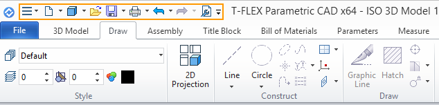 Menu T-Flex CAD