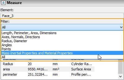 Filtr pro změřené hodnoty T-Flex CAD