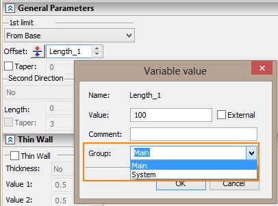 Hodnota proměnné T-Flex CAD