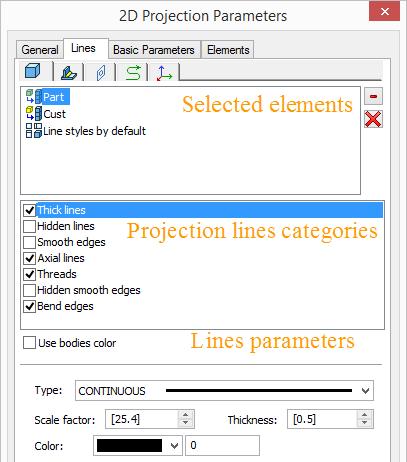 Parametry projekčních čar sestav T-Flex CAD