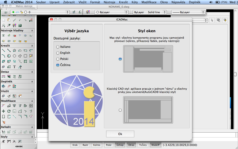 iCADMac - výběr stylu oken