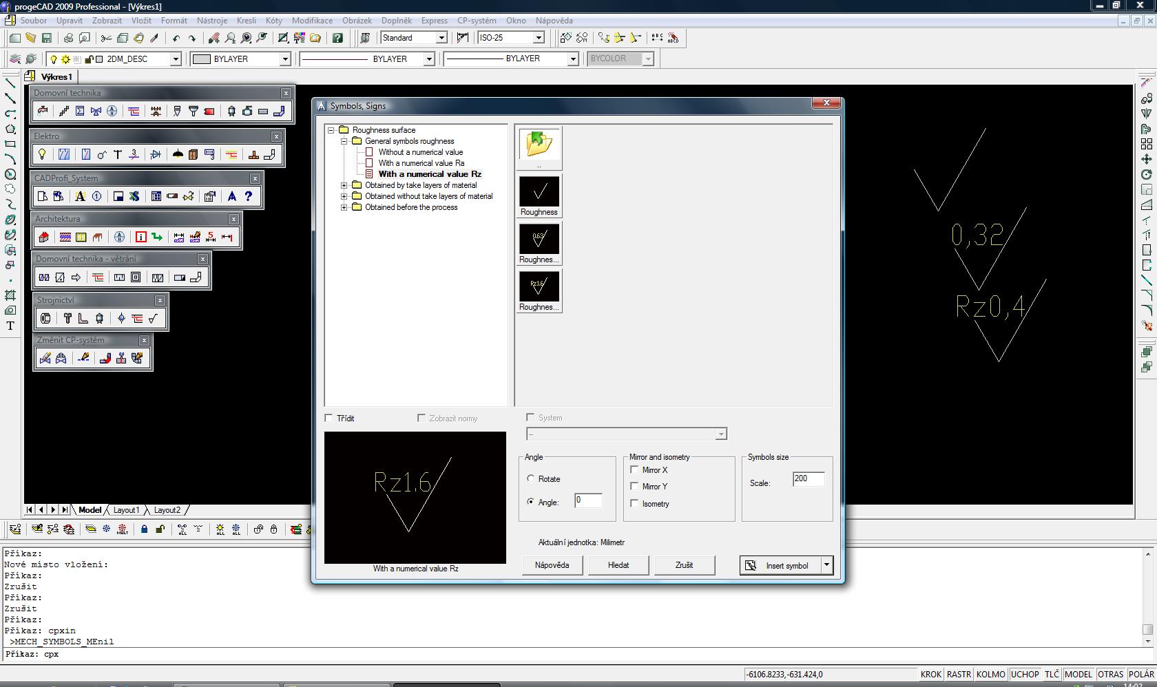 CADprofi Mechanical - nadstavba pro progeCAD a AutoCAD. screenshot