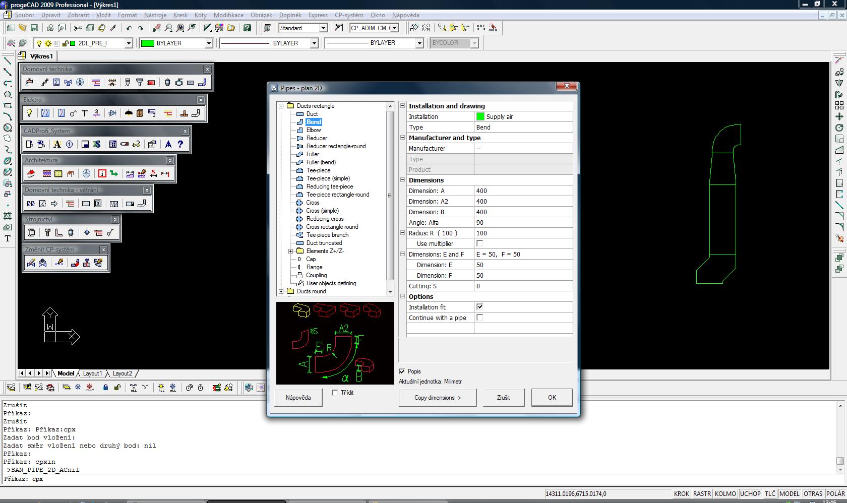 CADprofi HVAC - nadstavba pro progeCAD a AutoCAD. screenshot