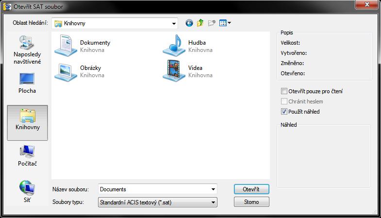 Otevření souboru typu SAT v Průzkumníkovi Windows