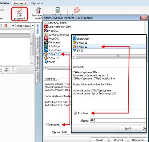 Nastavení importu T-flex CAD do SprutCAM8